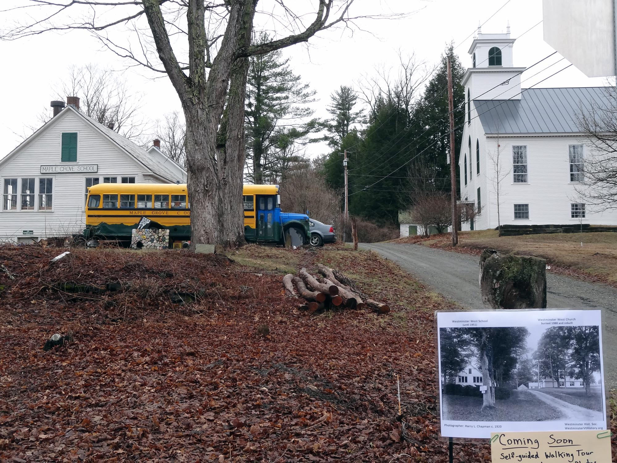 Westminster West Church and old schoolhouse shown in 2021 with the c1920 Harry Chapman photo displayed in foreground